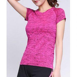 Женская пестрая спортивная футболка с круглым вырезом из секционно-окрашенной ткани